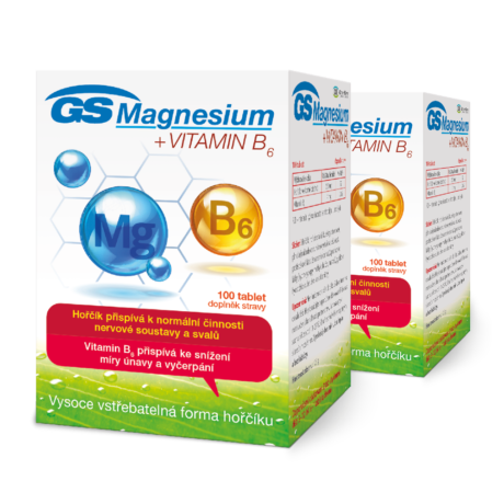 GS Magnesium s vitaminem B6, 200 tablet