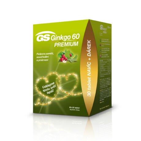 GS Ginkgo 60 PREMIUM, 60+30 tablet, dárkové balení