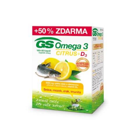GS Omega 3 CITRUS + D3, 100+50 kapslí