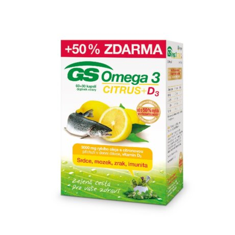 GS Omega 3 CITRUS +D3, 60+30 kapslí