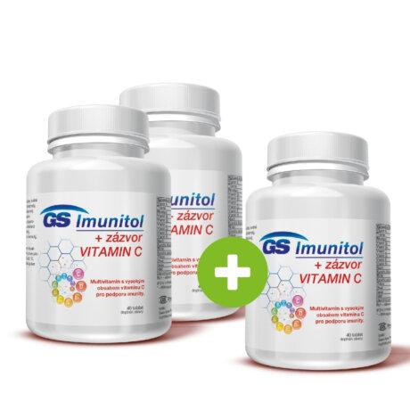 GS Imunitol + zázvor s vysokým obsahem vitaminu C pro podporu imunity, 40 tablet - 2+1 ZDARMA