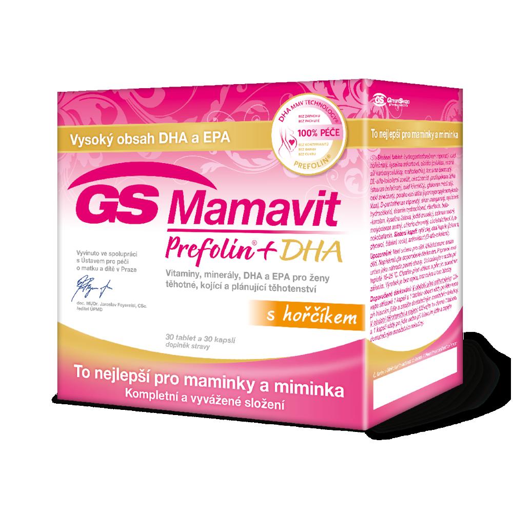GS Mamavit Prefolin+DHA 30 tablet+30 kapslí