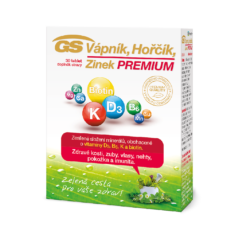 GS Vápník, Hořčík, Zinek PREMIUM s vitaminem D, 30 tablet